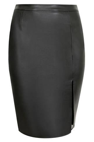 SIENNA COUTURE Black PU Pencil Skirt With Front Slit