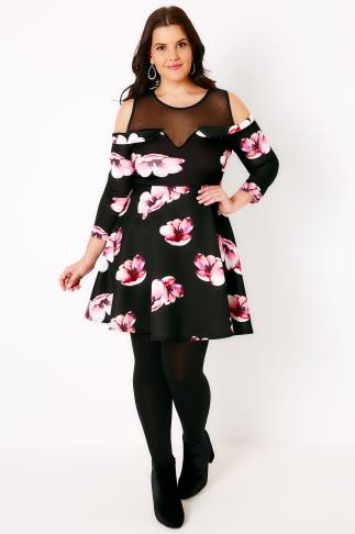 SIENNA COUTURE Black & Pink Floral Cold Shoulder Skater With Mesh Panel