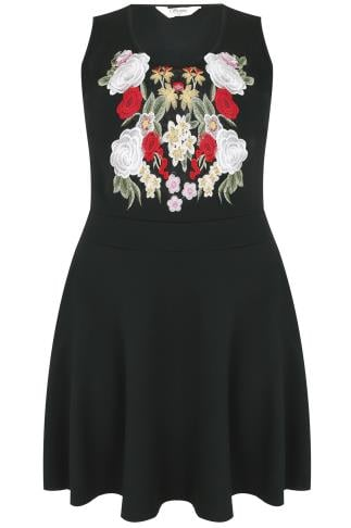SIENNA COUTURE Black Skater Dress With Floral Embroidery