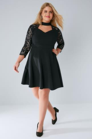 Party Dresses SIENNA COUTURE Black Skater Dress With Lace Sleeves & Choker Neck 138528