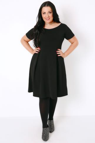 Black Dresses SIENNA COUTURE Black Sleeved Skater Dress 138066