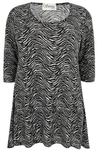 SIENNA COUTURE Black & White Animal Print Longline Top