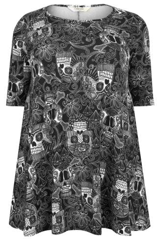 SIENNA COUTURE Black & White Candy Skull Print Longline Swing Top