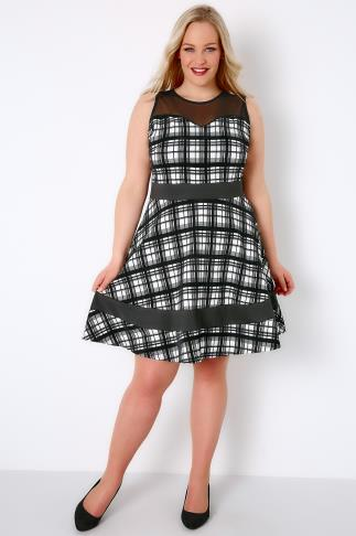 SIENNA COUTURE Black & White Window Check Skater Dress