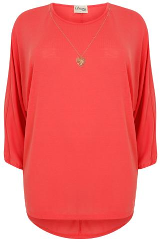 SIENNA COUTURE Coral Fine Knitted Top With Free Necklace