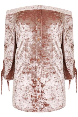 SIENNA COUTURE Dusty Pink Crushed Velvet Bardot Top