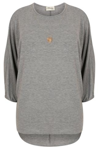 SIENNA COUTURE Grey Fine Knitted Top With Free Necklace