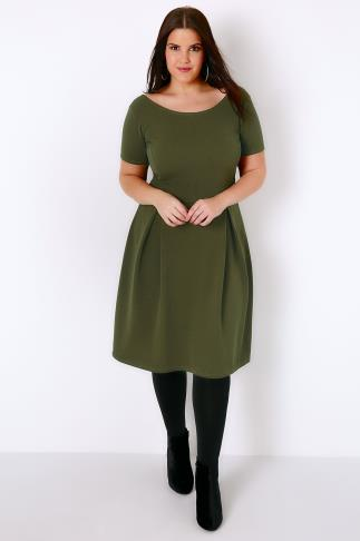 SIENNA COUTURE Khaki Sleeved Skater Dress