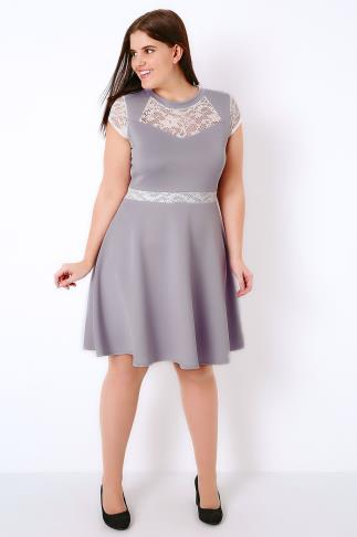 SIENNA COUTURE Lilac Skater Dress With Contrasting Lace Panels 138293