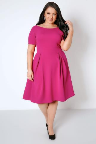SIENNA COUTURE Magenta Pink Sleeved Skater Dress 138372