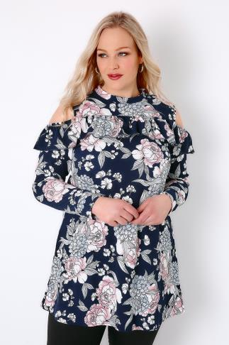 Bardot & Cold Shoulder Tops SIENNA COUTURE Navy & Multi Floral Print Cold Shoulder Top 138292