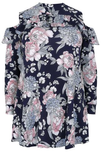 SIENNA COUTURE Navy & Multi Floral Print Cold Shoulder Top
