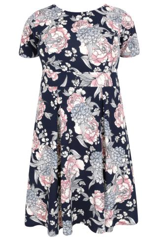 SIENNA COUTURE Navy & Multi Floral Print Sleeved Skater Dress