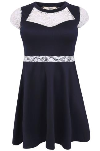 SIENNA COUTURE Navy Skater Dress With Contrasting Lace Panels