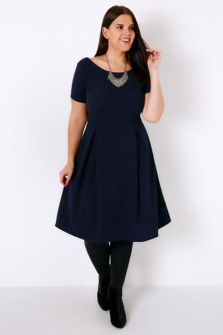Skater Dresses SIENNA COUTURE Navy Sleeved Skater Dress 138182