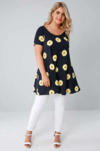 Day SIENNA COUTURE Navy Sun Flower Print Tunic Dress 138510