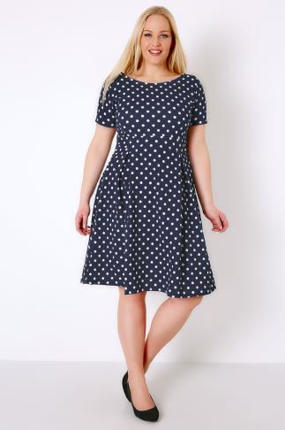 Skater Dresses SIENNA COUTURE Navy & White Polka Dot Sleeved Skater Dress 138219