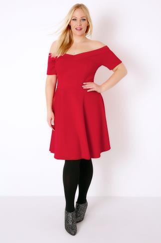SIENNA COUTURE Red Bardot Skater Dress