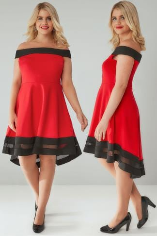 Party Dresses SIENNA COUTURE Red & Black Off The Shoulder Skater Dress 138065