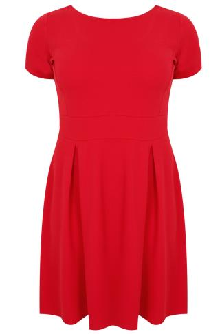SIENNA COUTURE Red Sleeved Skater Dress