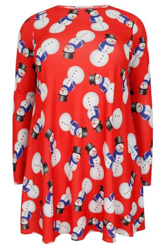 SIENNA COUTURE Red Christmas Snowman Novelty Swing Dress
