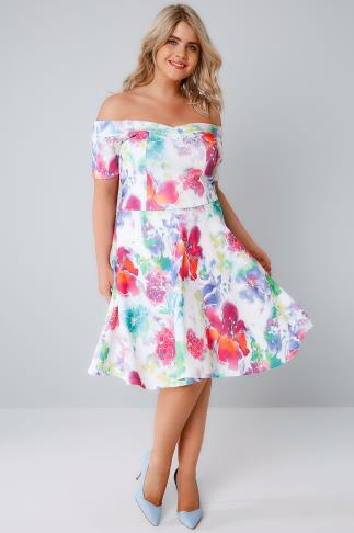 SIENNA COUTURE White & Multi Bright Floral Bardot Skater Dress 138509