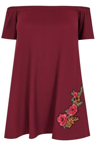 Col bateau SIENNA COUTURE Wine Bardot Top With Embroidered Rose 138732
