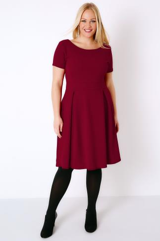 SIENNA COUTURE Wine Sleeved Skater Dress