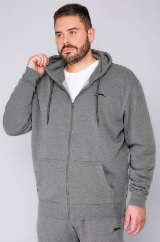 Hoodies SLAZENGER Grey Marl Zip Up Hoodie 110101