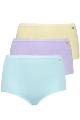 Briefs & Knickers SLOGGI 3 PACK Pastel Blue, Purple And Yellow Basic Maxi Briefs 014249