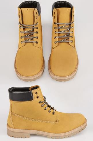 Boots Sand Nubuck LEATHER Lace-Up Boot Wide Fit 055462