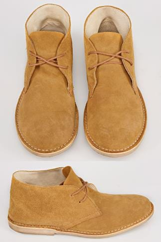 Sand SUEDE Desert Boot In Wide Fit