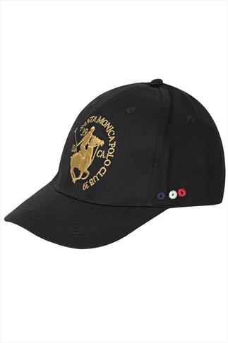 Santa Monica Black Baseball Cap With Gold Logo