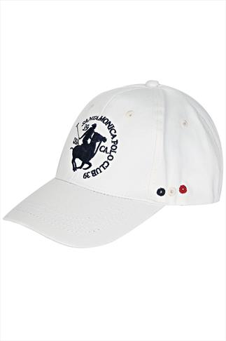 Santa Monica White Baseball Cap With Navy Logo