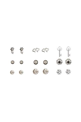 9 PACK Silver Assorted Stud Earrings
