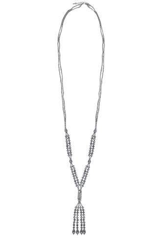 Silver Beaded Long Tassel Necklace