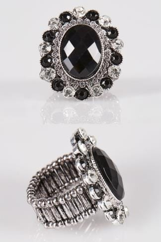 Silver & Black Diamante Shield Stretch Ring