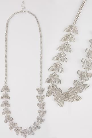 Silver Butterfly Long Necklace