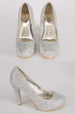 Silver COMFORT INSOLE Embellished Platform Heeled Party Shoe In E Fit