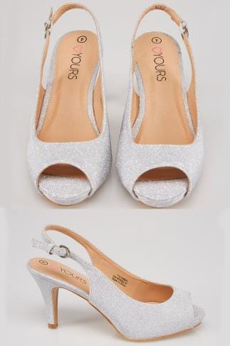 Wide Fit Heels Silver COMFORT INSOLE Glittery Peep Toe Sling Back Heels In True EEE Fit 154033
