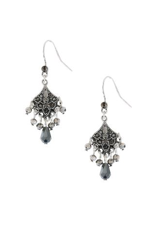 Jewellery Silver Chandelier Earrings With Black Diamante Detail 152147