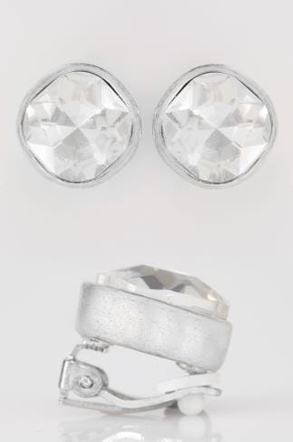 Silver Clip On Earrings With Large Diamante