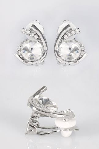 Silver Clip On Earrings With Large Diamante Detail