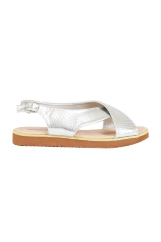 Silver Cross Over Flat Sling Back Sandals With Silver Buckle In EEE Fit 056461