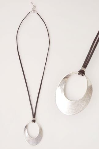 Jewellery Silver Cut Out Circle Pendant Necklace 152130