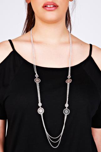 Silver Cut Out Long Chain Necklace