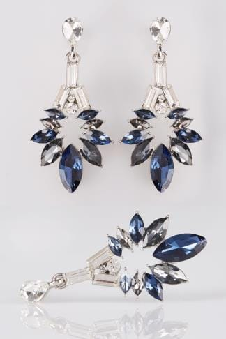 Silver & Deep Blue Floral Diamante Drop Earrings