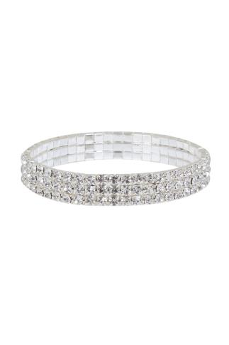 Silver Diamanté Stretch Bracelet
