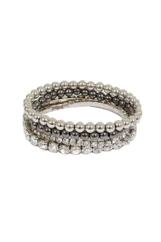 Silver & Diamanté Stretch Bracelet 4 Pack