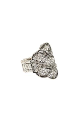 Silver & Diamanté Stretch Ring